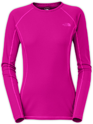 Synthetic base layers, like The North Face Light Long-Sleeve Crew Neck, are light, quick-drying and tough, but typically don't hold in heat as well as other wicking fabrics. Image courtesy of The North Face.